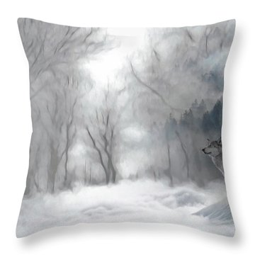 Wolves In The Mist Throw Pillow