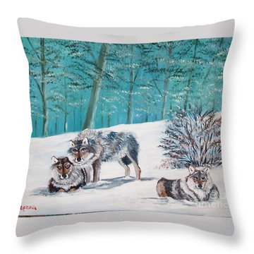 Wolves In The Wild Throw Pillow
