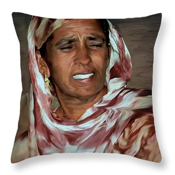Woman A Struggler Throw Pillow