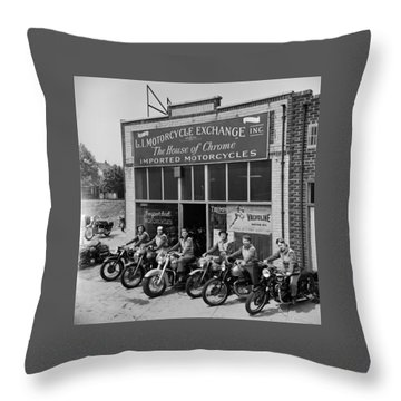 The Motor Maids Of America Outside The Shop They Used As Their Headquarters, 1950. Throw Pillow by Lawrence Christopher