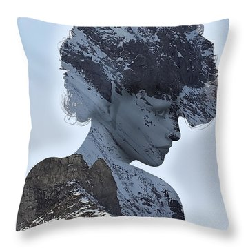 Woman And A Snowy Mountain Throw Pillow
