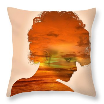 Woman And A Sunset Throw Pillow