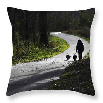 Woman And Border Collies Throw Pillow