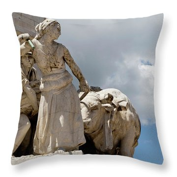 Throw Pillow featuring the photograph Woman And Bull, Marquis De Pombal Monument by Lorraine Devon Wilke