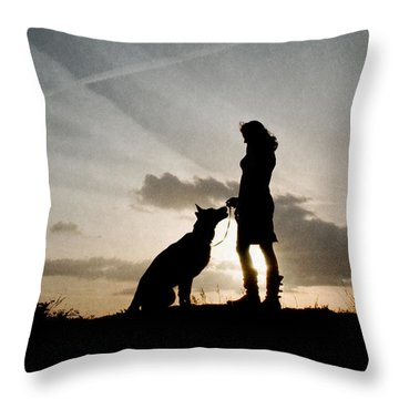 Woman And Dog  Throw Pillow