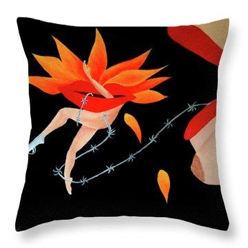 Woman And Establishment Throw Pillow