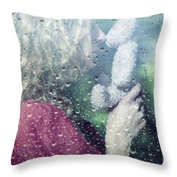 Woman And Teddy Throw Pillow by Joana Kruse