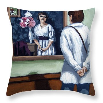 Woman At Art Museum Figurative Painting Throw Pillow