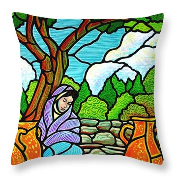Throw Pillow featuring the painting Woman At The Well by Jim Harris