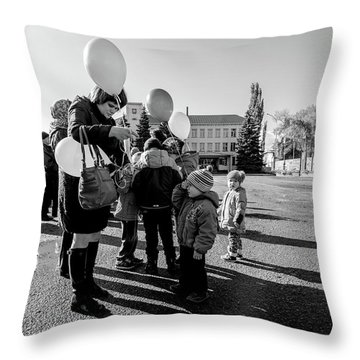Throw Pillow featuring the photograph Woman Balloon And Boy by John Williams