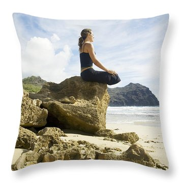 Woman Doing Yoga Throw Pillow by Kicka Witte - Printscapes