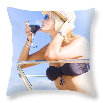 Woman Drinking Cocktail In Paradise Throw Pillow