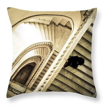 Woman Going Down At Staircase Throw Pillow