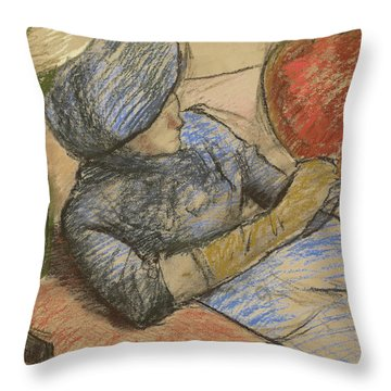 Woman Holding A Hat In Her Hand Throw Pillow