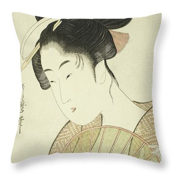 Woman Holding A Round Fan Throw Pillow