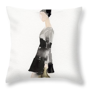 Woman In A Black And Gray Dress Fashion Illustration Art Print Throw Pillow by Beverly Brown