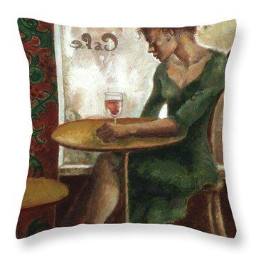 Woman In A Paris Cafe Throw Pillow