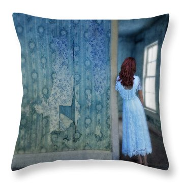Woman In Abandoned House Throw Pillow by Jill Battaglia