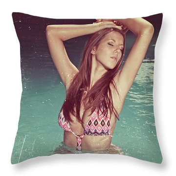 Woman In Bikini In The Water And Retro Look Image Finish Throw Pillow
