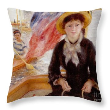 Woman In Boat With Canoeist Throw Pillow by Renoir