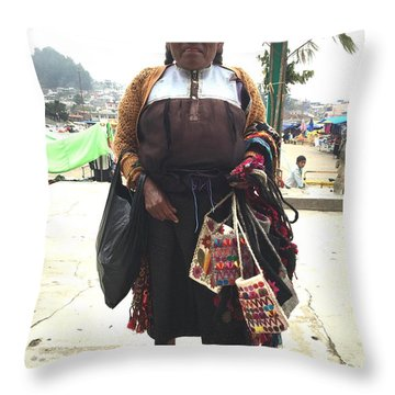 Woman In Chiapas. Throw Pillow