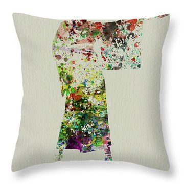 Woman In Kimono Throw Pillow