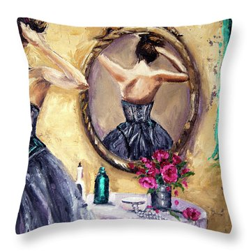 Throw Pillow featuring the painting Woman In Mirror by Jennifer Beaudet