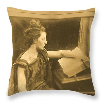 Woman In Robe Reading A Book Throw Pillow by Asok Mukhopadhyay