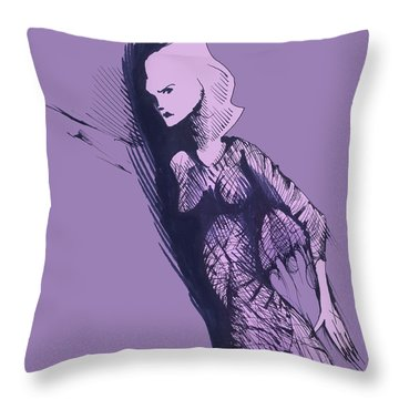 Throw Pillow featuring the drawing Woman In Shadows by Keith A Link