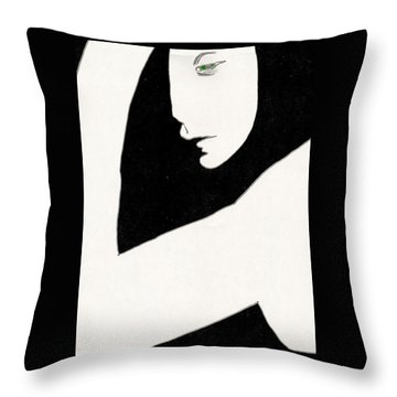 Woman In Shadows Throw Pillow