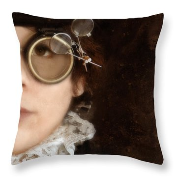 Woman In Steampunk Clothing  Throw Pillow by Jill Battaglia