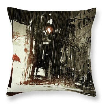 Woman In The Destroyed City Throw Pillow