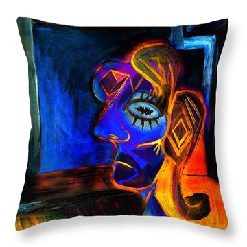 Woman In The Red Dress Throw Pillow