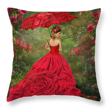 Woman In The Rose Gown Throw Pillow