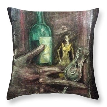 Throw Pillow featuring the painting Woman In Yellow Dress by Keith A Link