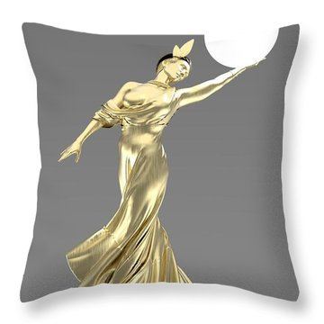 Woman Lamp Modernist Style Throw Pillow