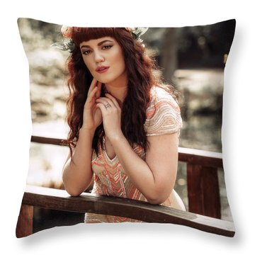 Woman Leaning On Rail Of Wooden Bridge Throw Pillow