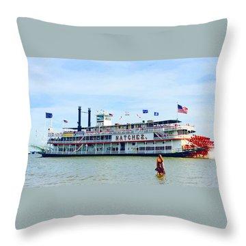 Woman Meets Natchez Throw Pillow