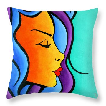 Woman Of Color, Eyes Closed Throw Pillow
