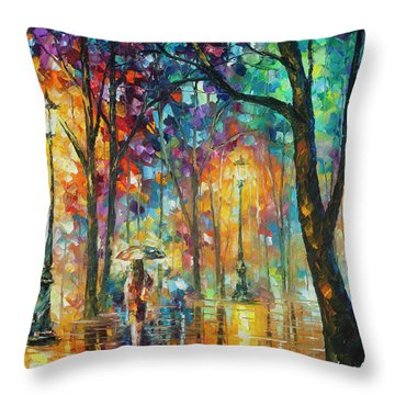 Woman Of The Night Throw Pillow by Leonid Afremov