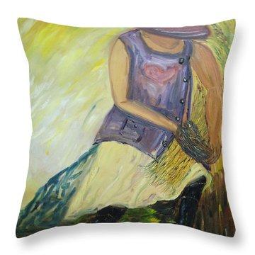 Woman Of Wheat Throw Pillow