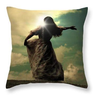 Woman On A Meadow Throw Pillow by Joana Kruse