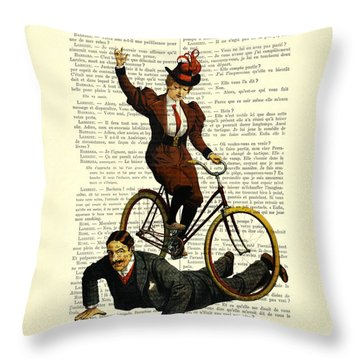 Woman On Bicycle Riding Over Man Throw Pillow
