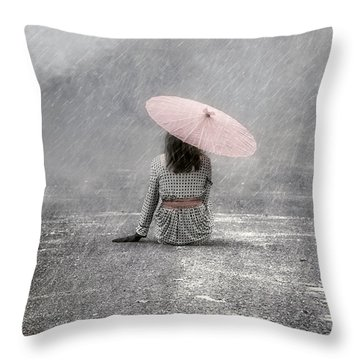 Woman On The Street Throw Pillow by Joana Kruse