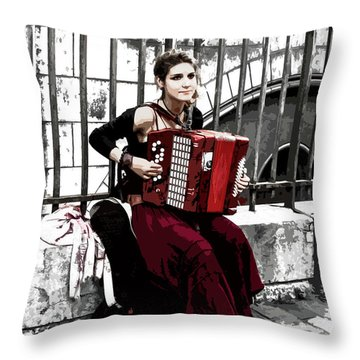 Woman Playing Accordion Throw Pillow