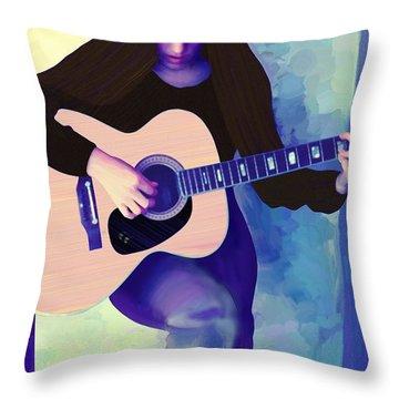 Woman Playing Guitar Throw Pillow
