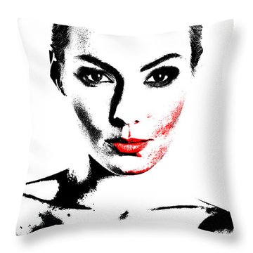 Woman Portrait In Art Look Throw Pillow