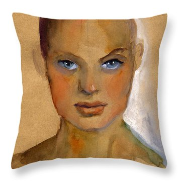 Woman Portrait Sketch Throw Pillow by Svetlana Novikova