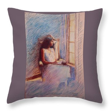 Woman Reading By Window Throw Pillow