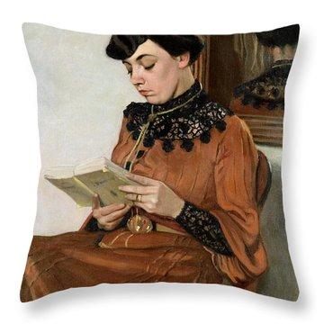 Woman Reading Throw Pillow